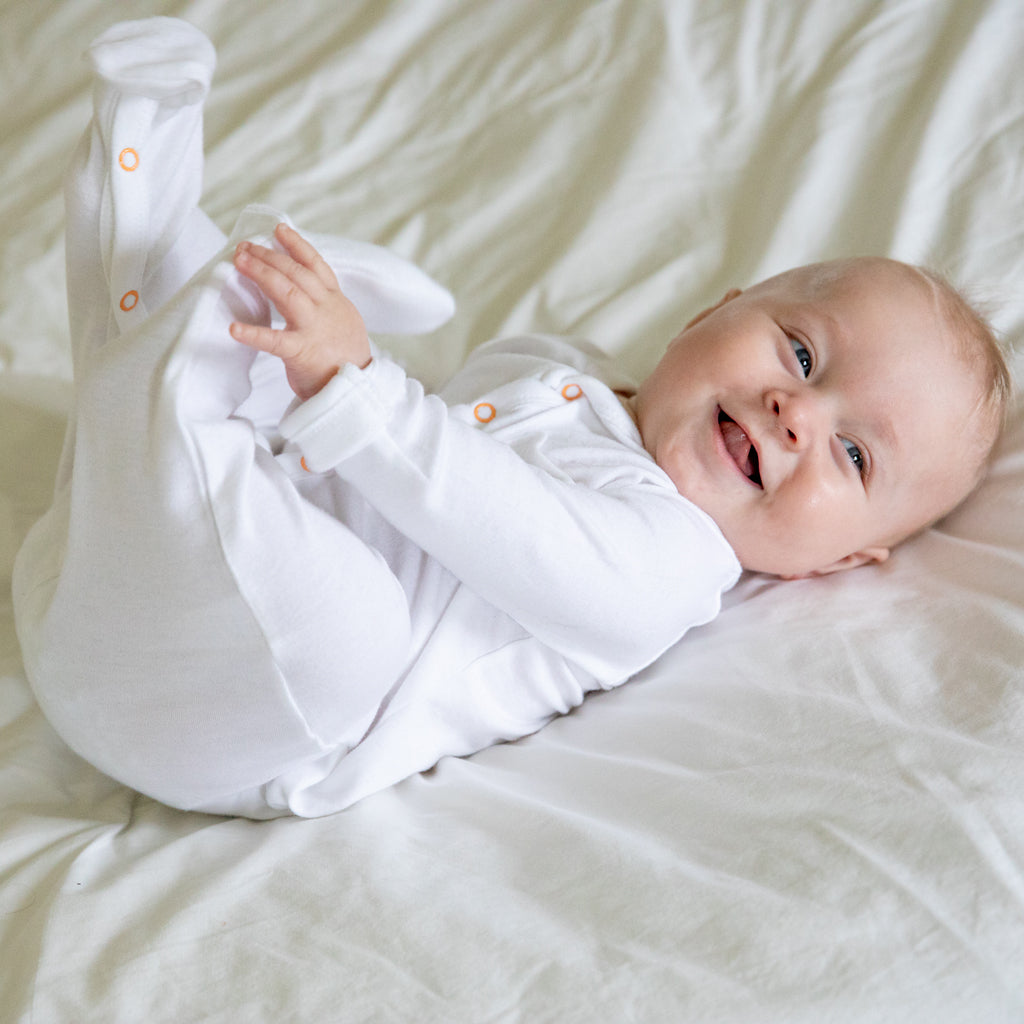 White Bamboo Baby Sleepsuit (Classic) - The Little Art Collection