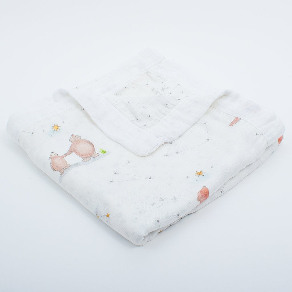 Four Layer 100% Bamboo Blankets (Bear & Star Design) - The Little Art Collection