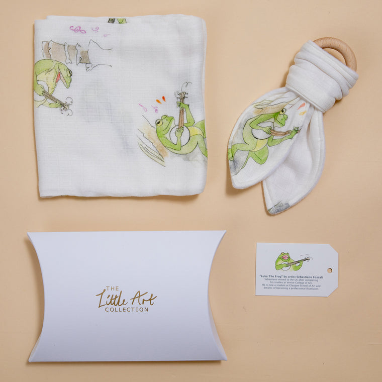 Frog Muslin Square & Teether Baby Gifts Set - The Little Art Collection