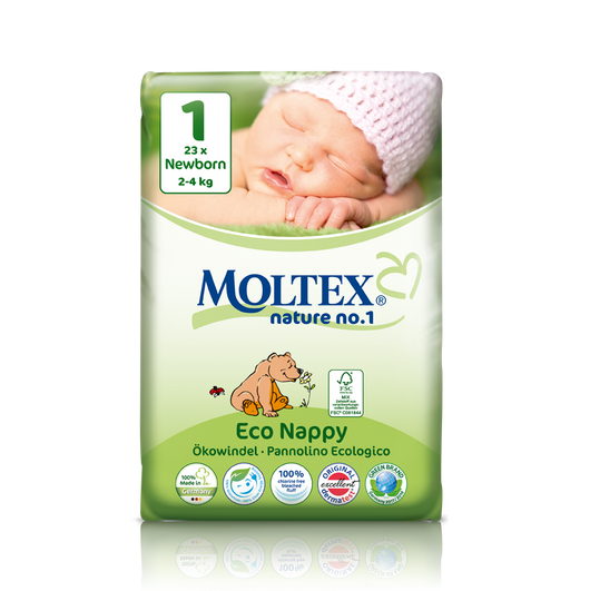 Moltex Eco Nappies Nature No.1 Size 1 2-4kg from econappies.ie