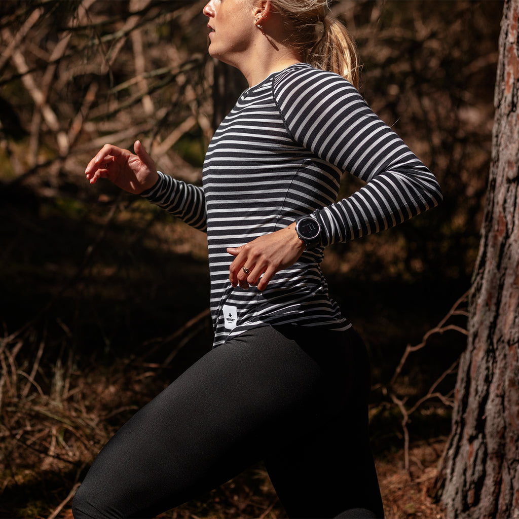 SAYSKY Wmns Striped Base 165 Longsleeve WMNS MERINO LS TEE BLACK / WHITE