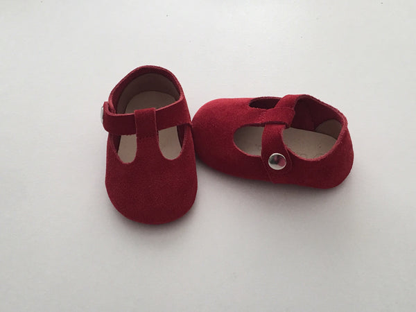 Red T-Bar Mary Jane Baby Shoes