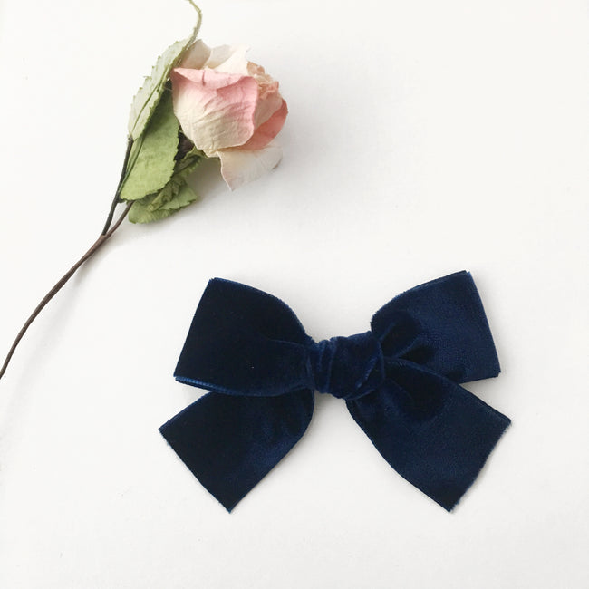 Super Chunky Navy Velvet Bow Headband