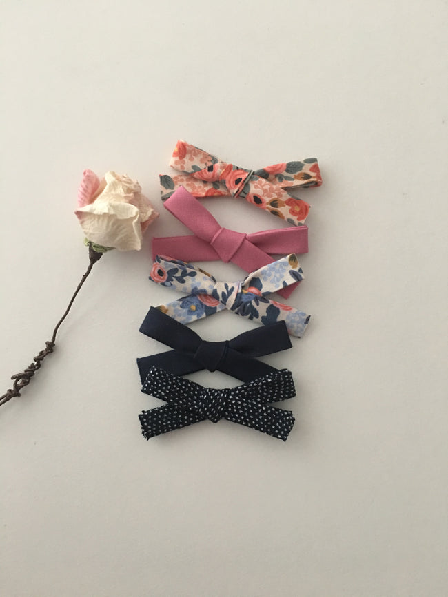 Set of 5 Handtied Cotton Bow Headbands.