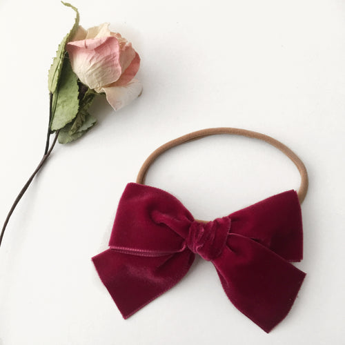 Super Chunky Burgundy Velvet Bow Headband