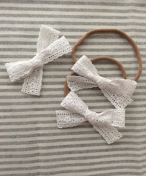 Willow White Lace Bow Headband- Baby Headband – Blossom and Cherry a18737ae0d6