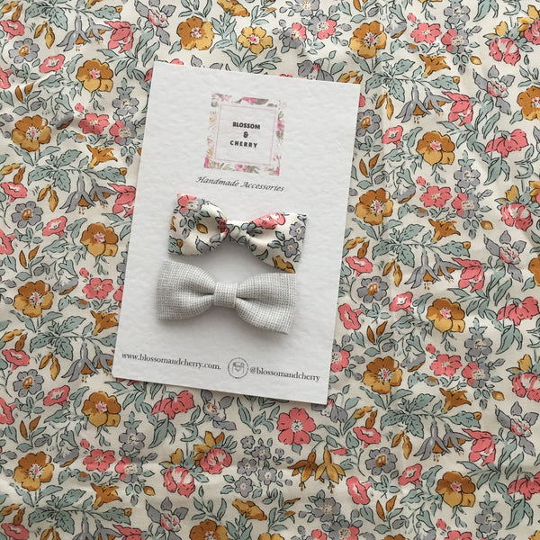Mamie Liberty Mini Bow Duo Clip || Rose Gold Clip