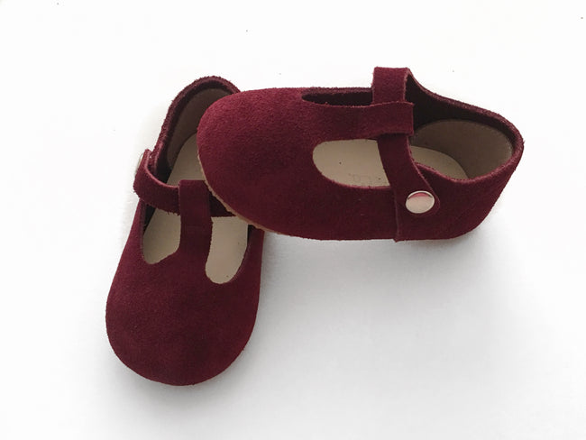Burgundy T-Bar Mary Jane Shoes