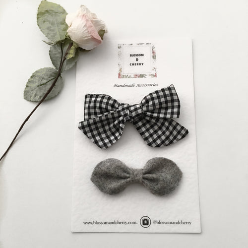 Heidi Mixed Bow Set || Headband or Clip