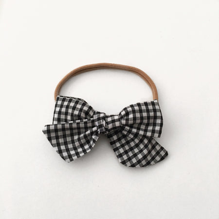 Chunky Black Velvet Bow || Headband or Clip