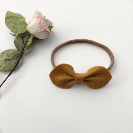Lizzie Felt Bow || Grey || Headband or Clip