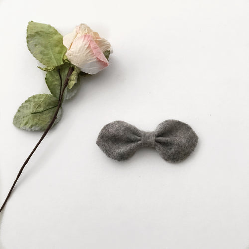 Chloe Felt Bow || Grey || Headband or Clip