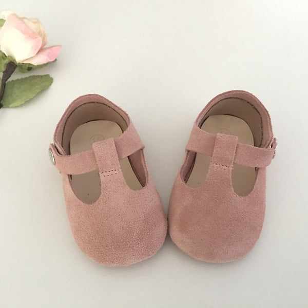 Dusty Pink T-Bar Mary Jane Baby Shoes