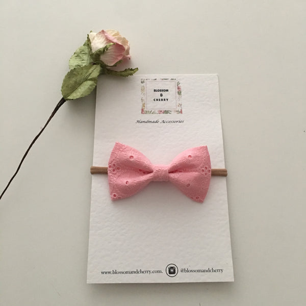 Jade Pink Lace Bow || Headband or Clip
