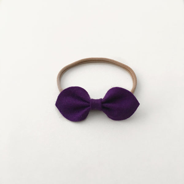 Chloe Felt Bow || Purple || Headband or Clip