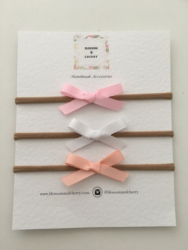 Set of Petersham Hand Tied Bows - Headband or Clip