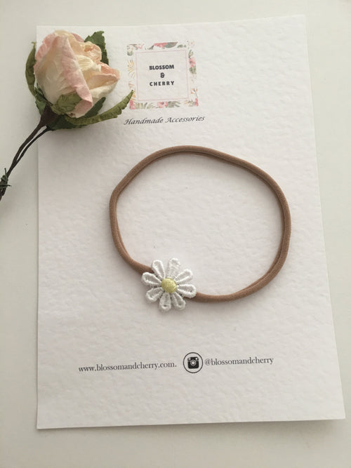 Single Daisy Lace Flower on Nylon Headband