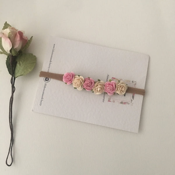 Pink and Ivory Mulberry Flower baby headband || Boho Baby Headband
