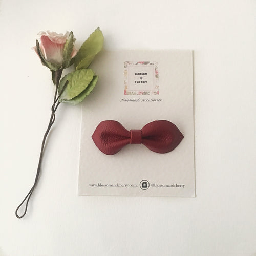 Millie Bow-Genuine leather hair bow || Red