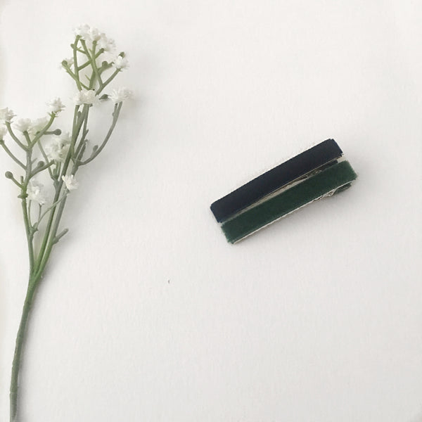 Velvet Hair Clip Duo || Green & Navy
