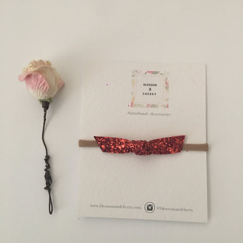 Red Glitter Knot Bow || Headband or Clip