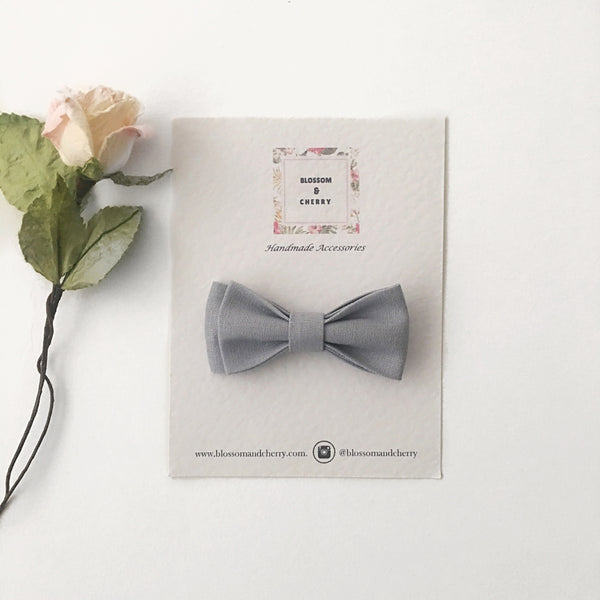 Cathy Grey Bow || Headband or Clip