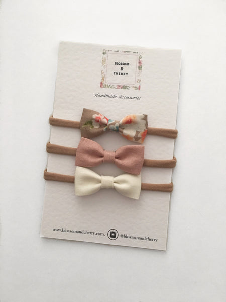 Cathy Trio Bow Set || Headband or Snap Clip