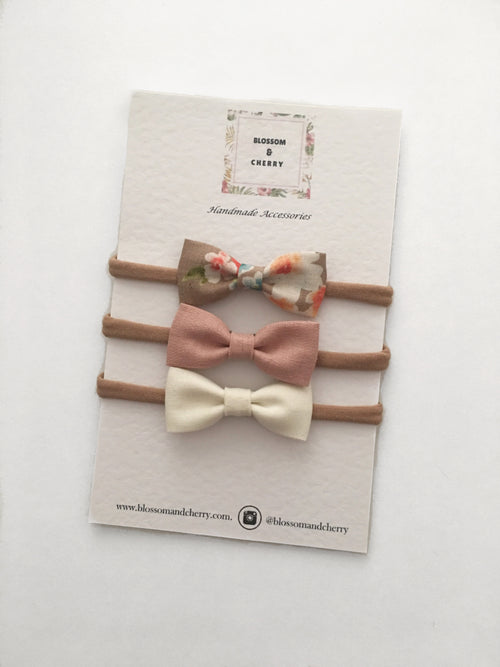 Set of 3 Mini Fabric Bow Headbands or Clips