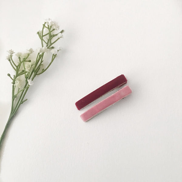 Velvet Hair Clip Duo || Pink & Burgundy