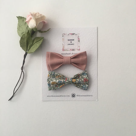 Cathy Dusty Blue Bow || Headband or Snap Clip