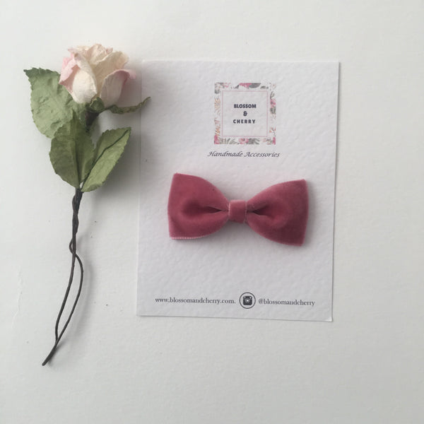 Rose Velvet Pinch Bow || Headband or Clip