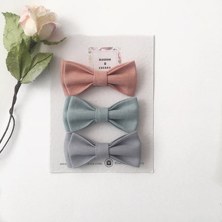 Cathy Mixed Bow Set || Grey  || Headband or Snap Clip