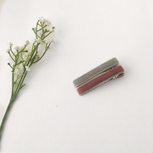 Velvet Hair Clip Duo || Grey & Antique Rose