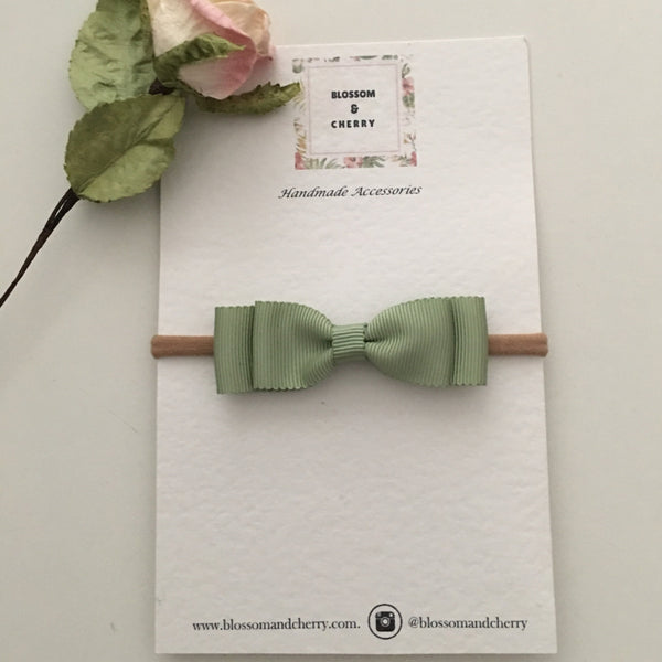 Moss Petersham Double Bow  || Headband or Clip