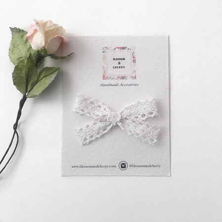 Vintage Cream Lace Bow Headband- Baby Headband