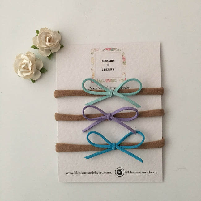 Set of 3 Super Skinny Dainty Suede Bow On Nylon Headband