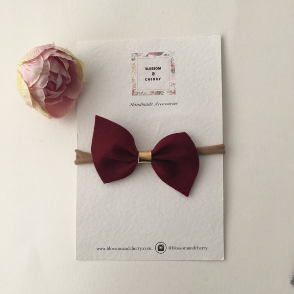 Remi Burgundy Felt Bow || Headband or Clip