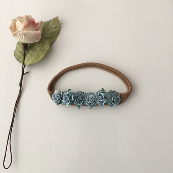 Light Blue Flower baby headband || Boho Baby Headband