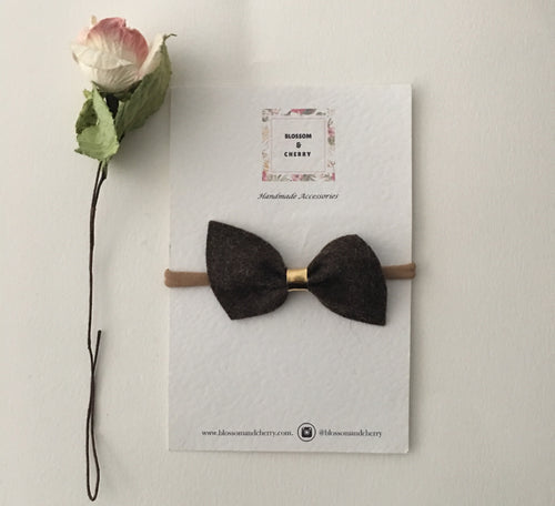 Remi Brown Felt Bow || Headband or Clip