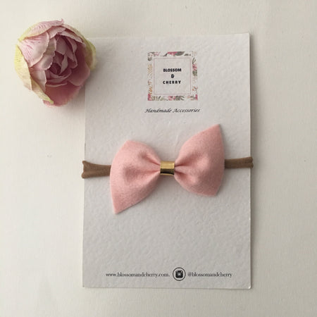 Kate Bow-Genuine leather hair bow ||Pink