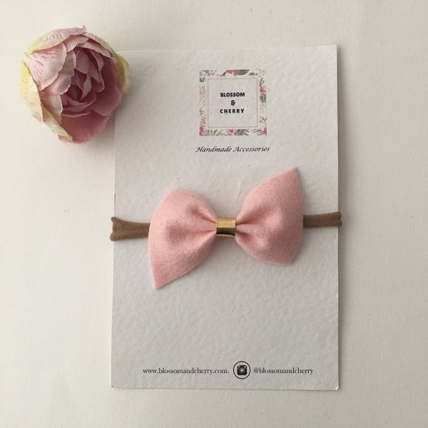 Remi Pink Felt Bow || Headband or Clip