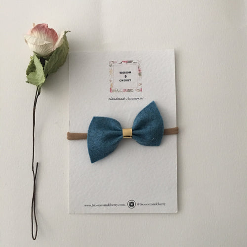 Remi Dusty Blue Felt Bow || Headband or Clip