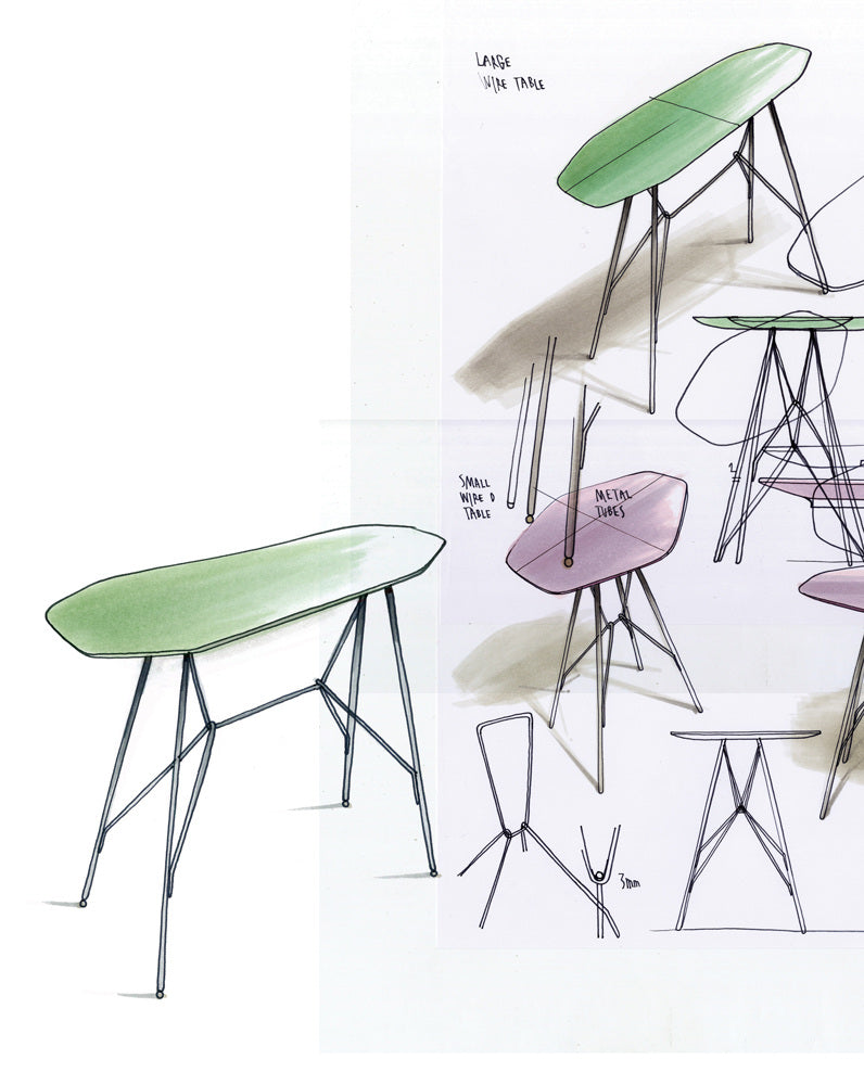 Frank rettenbacher unrecorded their simple and stable wire frame construction uses minimal material and gives the products their slender identity the tables bring character greentooth Gallery