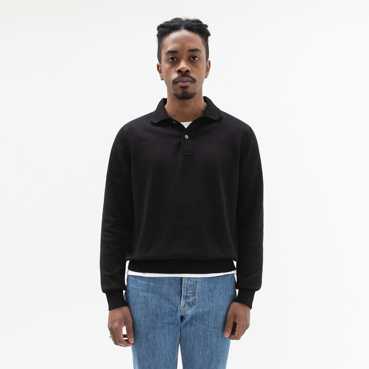 Knitted Polo Shirt Black - Unrecorded
