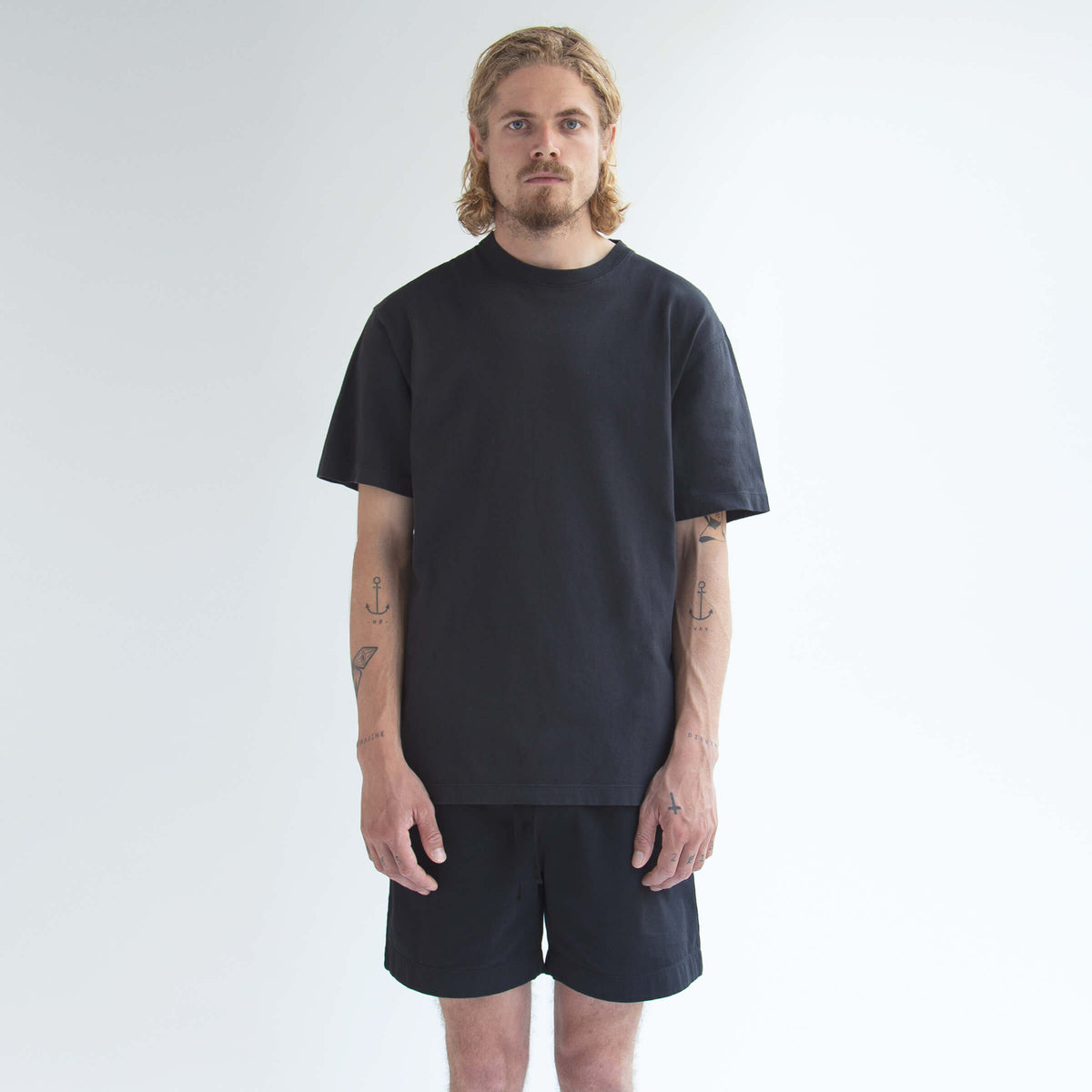 Sweatpant Short in Black made from organic cotton - Front Men