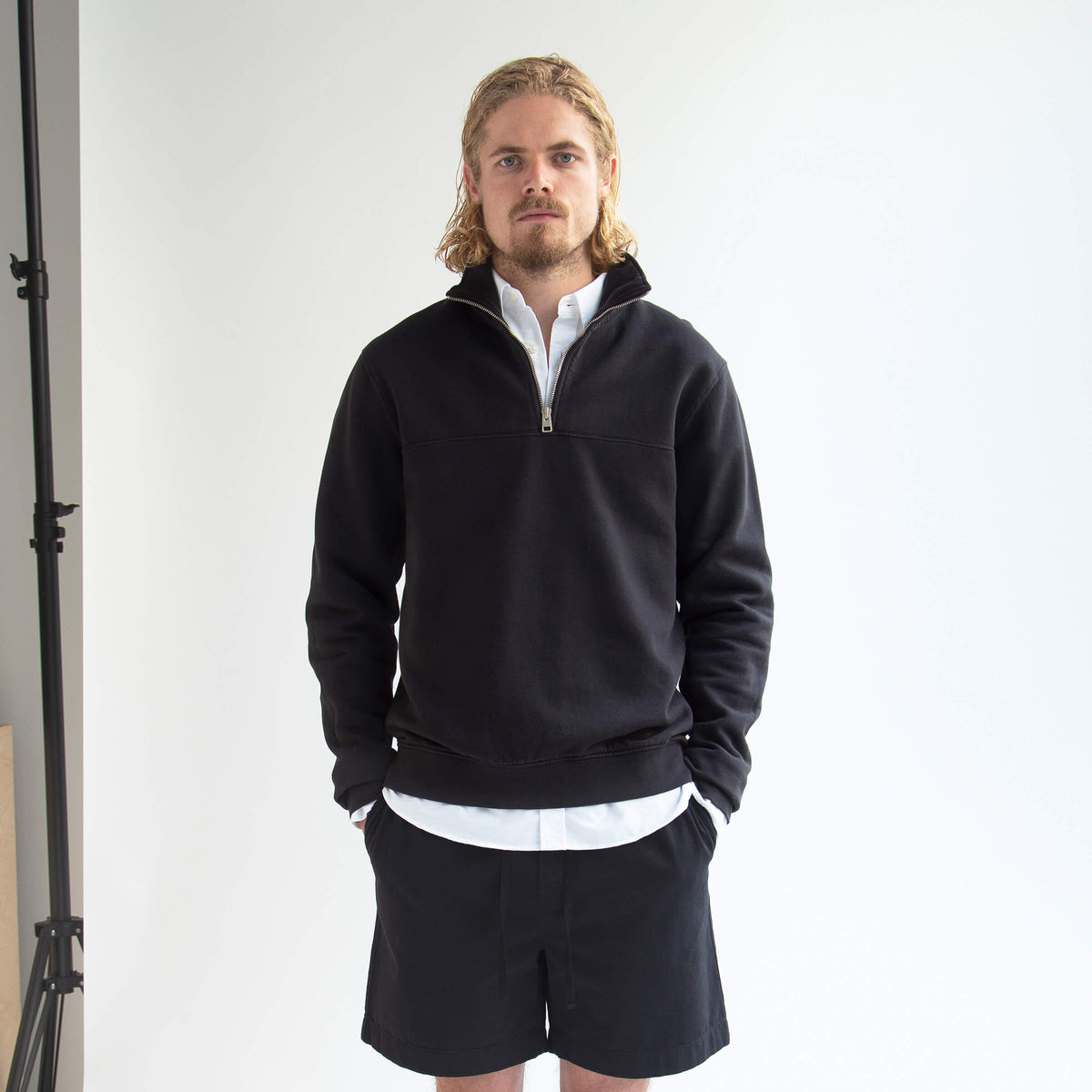 Half-Zip Sweater in Dusty Black made from organic cotton - Front Men