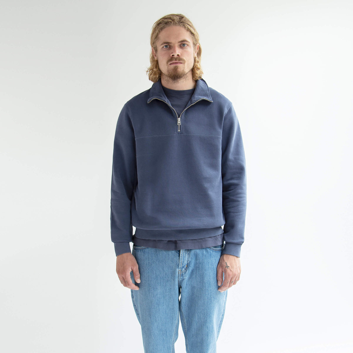 Half-Zip Sweater Dusty Blue - Unrecorded