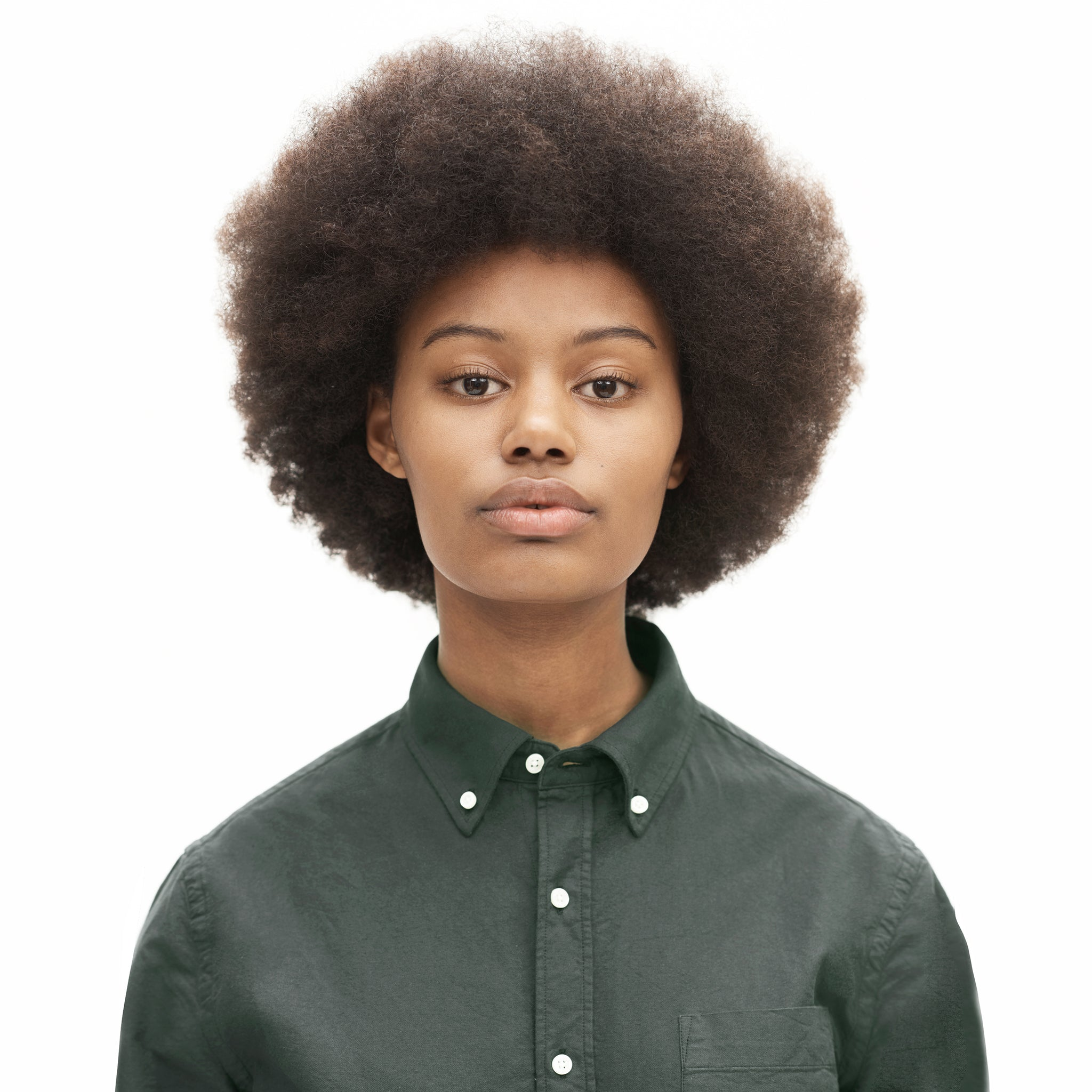 Oxford Shirt in Green made from organic cotton - Front Women