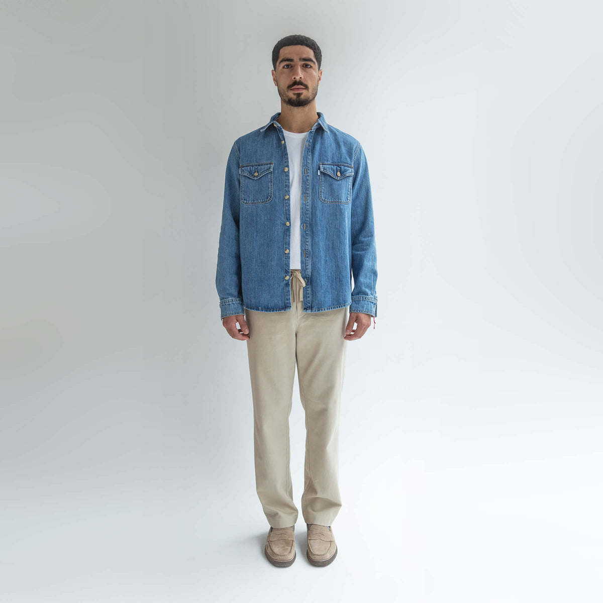 Denim Shirt made from Organic Cotton - Front Men - Only Men