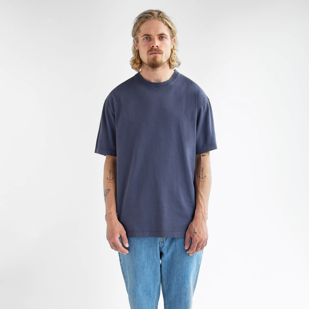 T-Shirt 220 GSM in Washed Blue made from organic cotton - Front Men